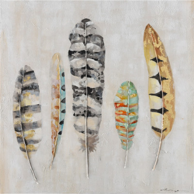 FEATHERS ΠΙΝΑΚΑΣ 100x3.5x100Ycm OIL PAINTING MULTICOLOR