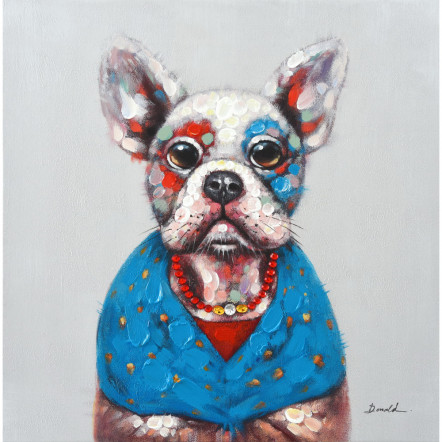 DOG ΠΙΝΑΚΑΣ 70x3.5x70Ycm OIL PAINTING MULTICOLOR