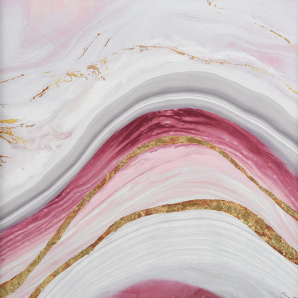 MARBLE ΠΙΝΑΚΑΣ 60x3.5x60Ycm OIL PAINTING PINK-GOLD