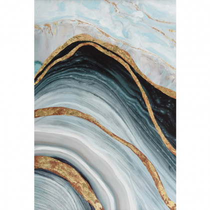 MARBLE ΠΙΝΑΚΑΣ 60x3.5x90Ycm OIL PAINTING BLUE-GOLD
