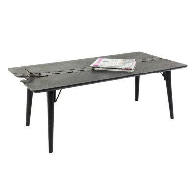 ZIPPER COFFEE TABLE 122x60x45Ycm ΓΚΡΙ/ΚΑΦΕ