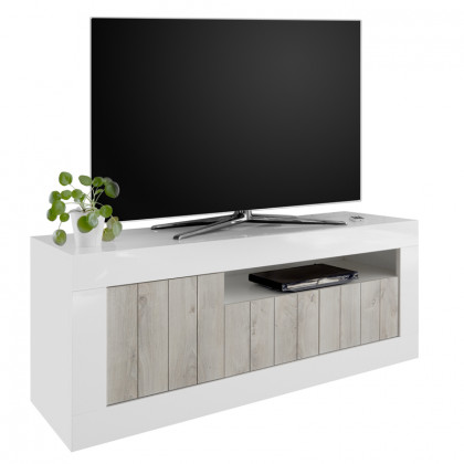 AMALFI TV STAND 138x42x56Ycm ΛΕΥΚΟ HIGH GLOSS/CEMENT