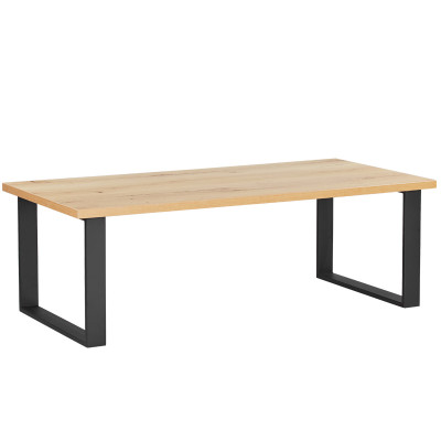 ULMER COFFEE TABLE 120x60x40Ycm DARK OAK NATURAL/ΜΑΥΡΑ ΜΕΤΑΛΛΙΚΑ ΠΟΔΙΑ