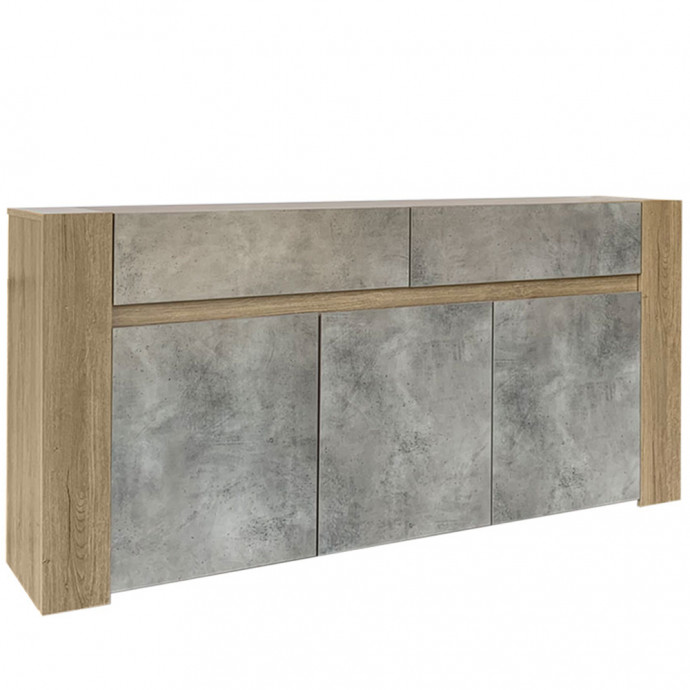 WASCO ΜΠΟΥΦΕΣ 180x41x87Ycm DARK OAK/CEMENT