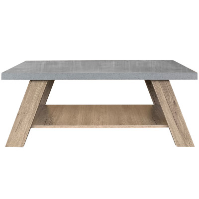 BANJI COFFEE TABLE 120x60x46Ycm CEMENT ΕΠΙΦΑΝΕΙΑ/DARK OAK ΠΟΔΙΑ