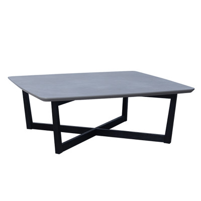 SQUARE COFFEE TABLE 100x100x37Ycm ΕΠΙΦ.CEMENT/ΜΑΥΡΑ ΠΟΔΙΑ